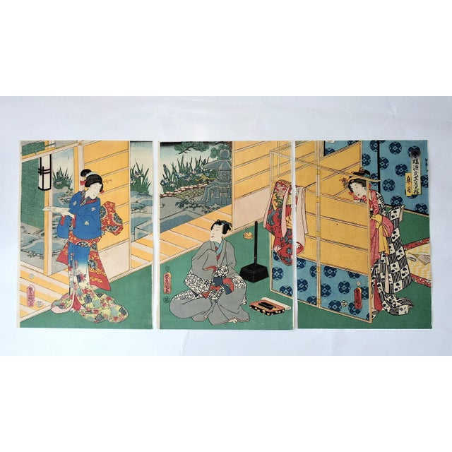 Antique Japanese polychrome woodblock print, ink and color on washi paper, a stamped/signed original. An amusing scenario...
