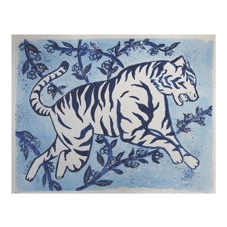 Chinoiserie White Tiger Floral Painting by Cleo Plowden For Sale