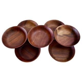 Bob Stocksdale Black Walnut Hand-Turned Bowls - Set of 7 For Sale
