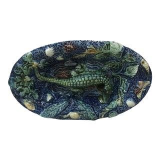19th Century Majolica Palissy Alligator Wall Platter Thomas Sergent For Sale
