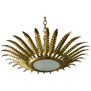 Spanish Gilt Metal Leaf Sunburst Ceiling Fixture For Sale
