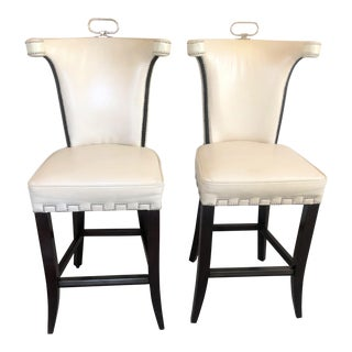 Polished Nickel Nail Heads and Mahogany Legs Beige Bar Stools- A Pair For Sale