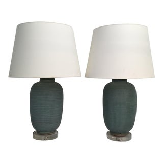 Mid-Century Hand Turned Pottery Lamps - A Pair