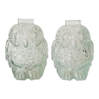 Vintage Clear Glass Wise Old Owl Figural Glass Banks - a Pair For Sale