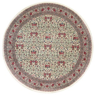 Traditional Hand Woven Round Ivory Wool Rug 10' X 10' For Sale