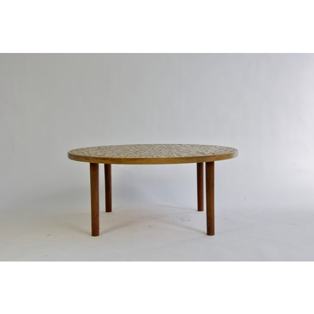 Offer by OLIVER MODERN Ceramic tile-top coffee table by Gordon and Jane Martz. Walnut frame and legs.