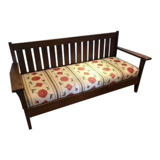Vintage Mid Century Mission Style Bench For Sale