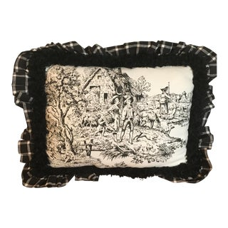 French Inspired Toile Accent Pillow For Sale