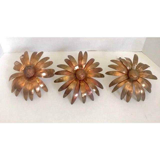 Folk Art Handmade Copper Flowers - Set of 3 For Sale - Image 4 of 4