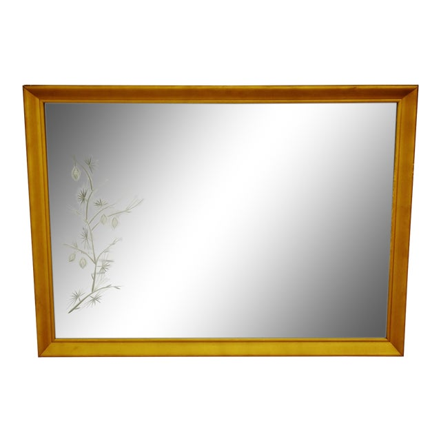 MCM Gold Gilt Framed Etched Glass Wall Mirror For Sale - Image 13 of 13