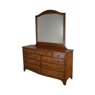 Durham Solid Maple 9 Drawer Dresser With Mirror For Sale
