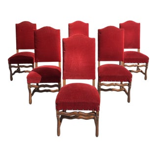 1900s Antique French Louis XIII Style Os De Mouton Solid Walnut Dining Chairs - Set of 6 For Sale