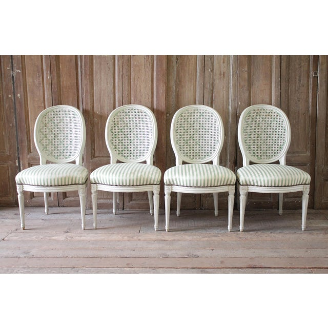 Louis XVI Style French Painted Cane Back Dining Chairs -Set of 4 For Sale - Image 11 of 11