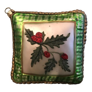 Green & Red Holly Christmas Ornament For Sale