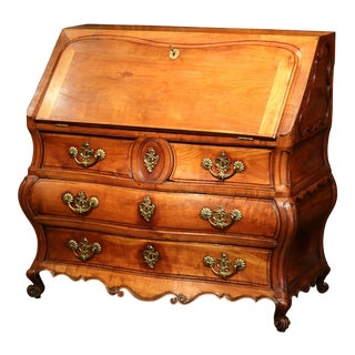 18th Century French Louis XV Bombe Cherry Desk Secretary Scriban from Bordeaux