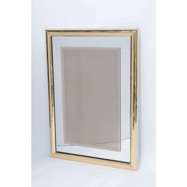 Sleek 1970s Faceted Brass Mirror with Center Bronze Mirror - Image 2 of 8