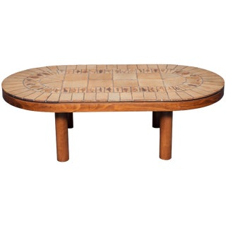 Oval Tile-Top Coffee Table by Roger Capron