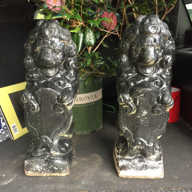 Antique Black Stone Lion Foo Dogs - A Pair - Image 2 of 5