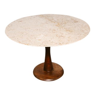 Nanna Ditzel Att. Mid Century Marble and Walnut Round Dining Table