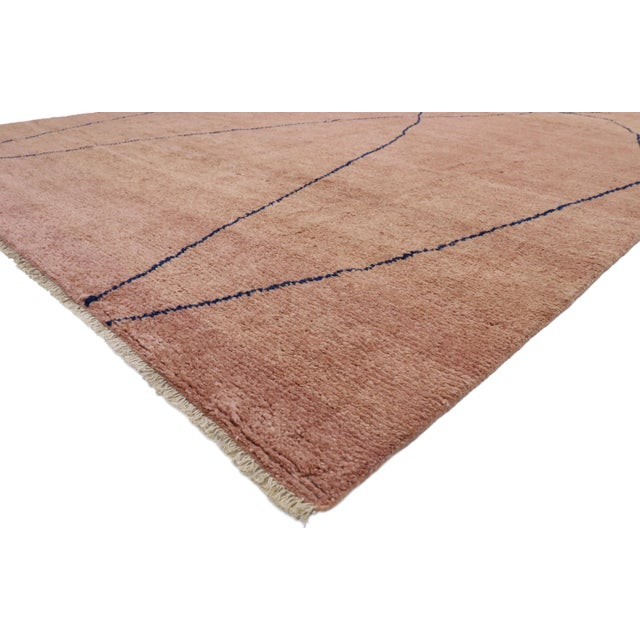 80566 New Contemporary Moroccan Rug with Minimalist Bohemian Style 10'00 x 13'06. This hand knotted wool contemporary...
