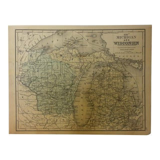 """Antique Mitchell's New School Atlas Map, """"Michigan and Wisconsin"""" by e.h. Butler & Company Publishers - 1865 For Sale"""