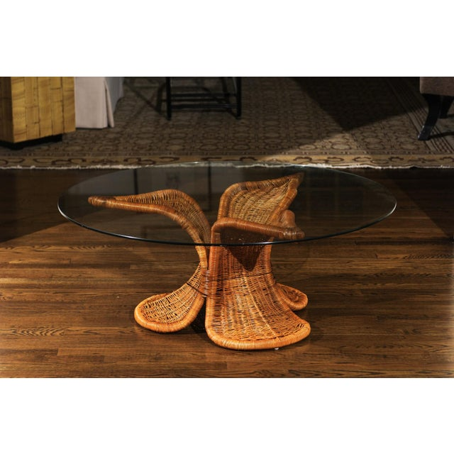 Beautiful Restored Wicker Coffee Table in the Style of Danny Ho Fong, Circa 1975 For Sale - Image 4 of 9