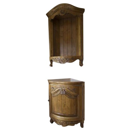 French Custom Made Corner Cabinet and Shelf - Image 1 of 8
