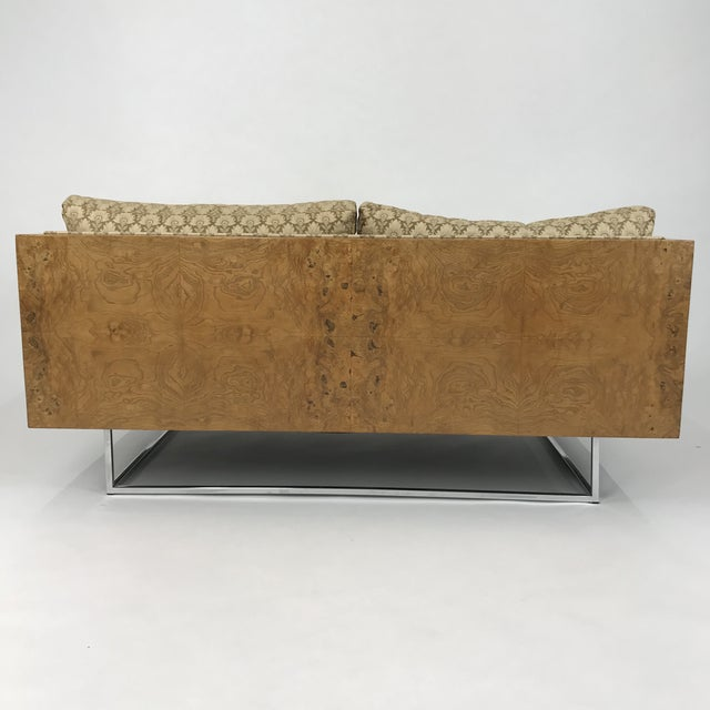 2 Seater Olive Burl Sofa With Chrome Base Designed by Milo Baughman for Thayer Coggin For Sale - Image 11 of 13