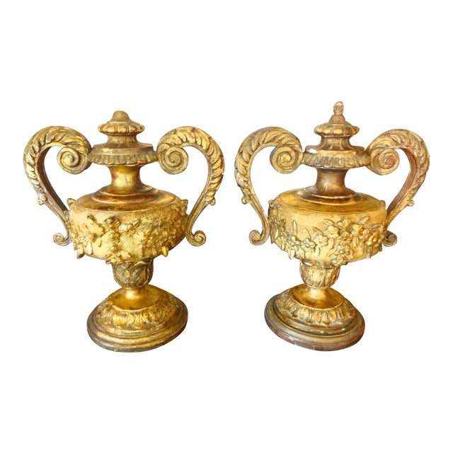 Pair of 18th Century Italian Gilt Wood Urns For Sale