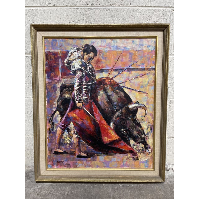 1965 oil painting of a Matador In excellent condition. Frames has some minor nicks. Colors are brilliant and beautiful. No...