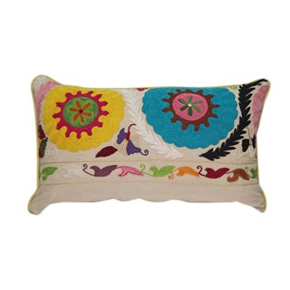 Bold Floral Crewel Embroidery Pillow For Sale