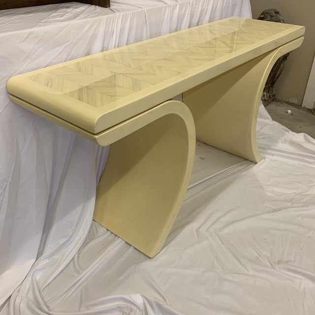 Hollywood Regency Karl Springer Style Goatskin Lacquer Console For Sale - Image 3 of 10