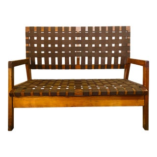 Mid Century Modern Jens Risom Brown Weaved Strap Ashwood and Canvas Bench For Sale