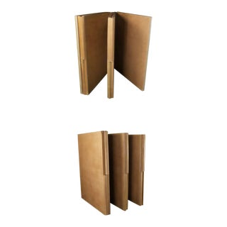 Low Six Fold Leather Table Screens- A Pair