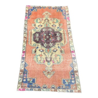 Medallion Design Turkish Antique Handmade Color Floor Rug - 4′1″ × 7′8″ For Sale