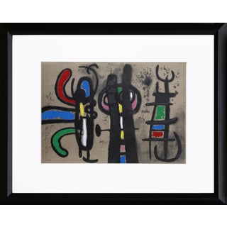 """Cartones 18: Personnage Et Oiseau"" Framed Lithograph by Joan Miro For Sale"