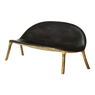 Sofa in Brass and Oak by Valentin Loellmann For Sale