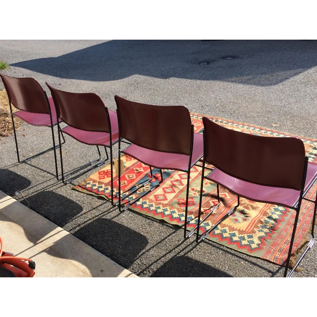 Metal David Rowland for Rowe 40/4 Stackable Chairs- Set of 4 For Sale - Image 7 of 11