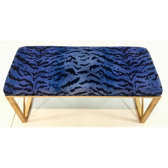 Modern Modern Port 68 Scalamandre Style Blue and Gold Zebra Print Bench For Sale - Image 3 of 6