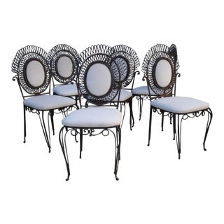 French Unusual Wire Armchairs- Set of 6 For Sale