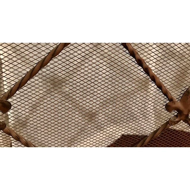 Antique French Wrought Iron Arched Fleur De Lis Folding Three Panel Fireplace Screen For Sale In Los Angeles - Image 6 of 9