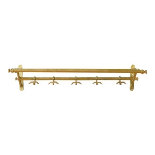 French Art Deco Brass Coat Rack For Sale