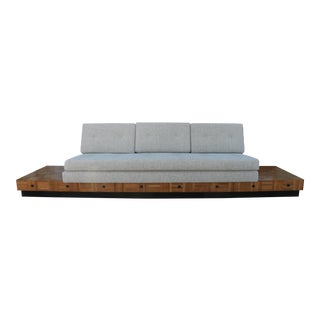 Adrian Pearsall Patched Burlwood Platform Sofa For Sale