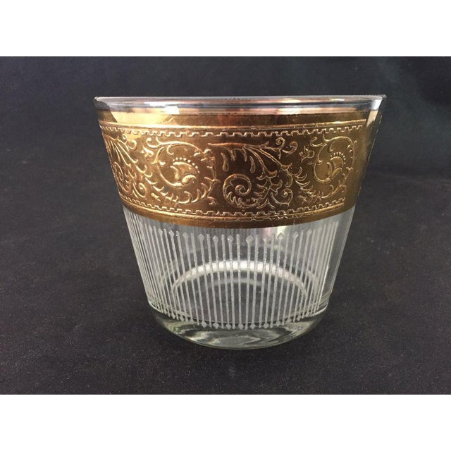 Vintage Hollywood Regency , Mid-century Clear and Rose Gold With Floral Design Glass Ice Bucket, Makers Mark Reads...