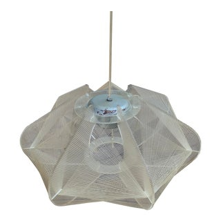 Mid-Century Modern Lucite Fish Line Shade Pendant Lamp For Sale