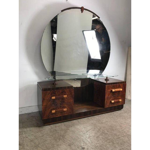 Brass American Art Deco Vanity / Dressing Table in the Manner of Donald Deskey For Sale - Image 7 of 10