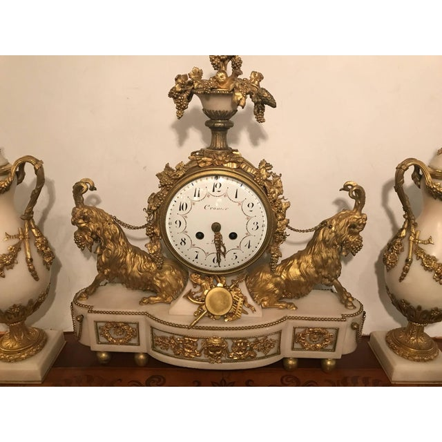 Late 18th Century Elegant 18th Century French Ormolu Marble Clock and Garniture For Sale - Image 5 of 10