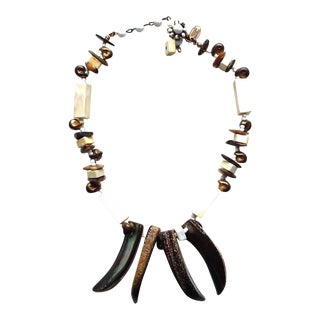 Miriam Haskell Shell Abalone Claw Necklace For Sale