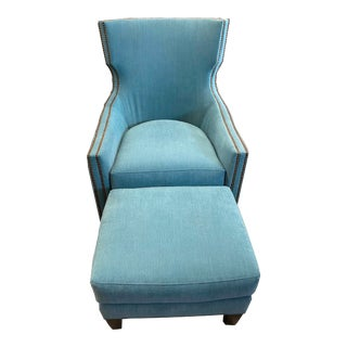 Accent Chair by Wesley Hall - #699 Luna Chair and Ottoman For Sale