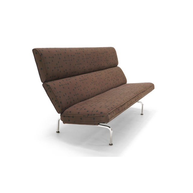 Early Charles and Ray Eames sofa compact for Herman Miller in Eames dot pattern fabric by Maharam. This vintage sofa was...